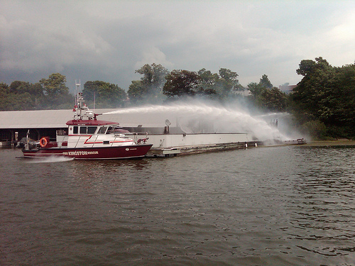 Kingston FD respond to a fire at Rideau Marina on July 17 2010