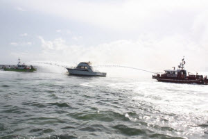 Two MetalCraft Marine fireboats respond to a 50-foot yacht fire off Miami, FL